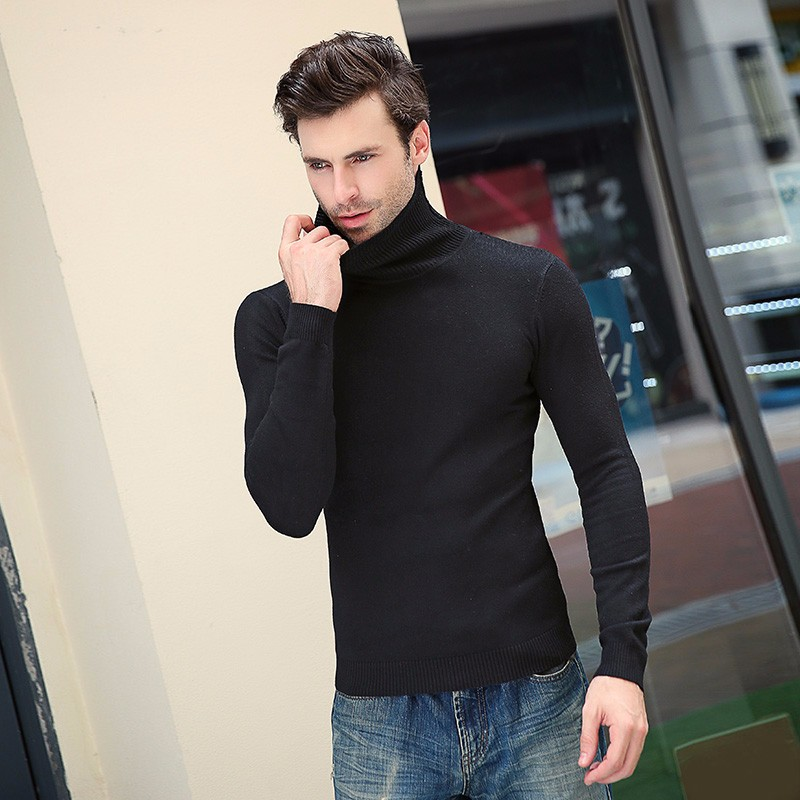 2019 Brand Autumn New Men's Turtleneck Sweaters Male Black White Sexy Slim Fit Knitted Pullovers Solid Casual Sweaters Knitwear