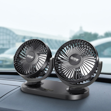 12V/24V Car Fan Mini Portable USB Double-head 360° Adjustable Direction Small Cooling With Self-adhesive