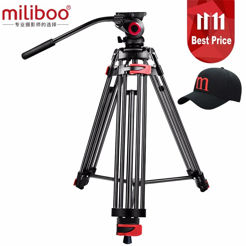 Miliboo MTT602A Professionale Portatile In Alluminio Testa Fluida Treppiedi di Macchina Fotografica per la Videocamera Portatile/DSLR Supporto Video Treppiede 76