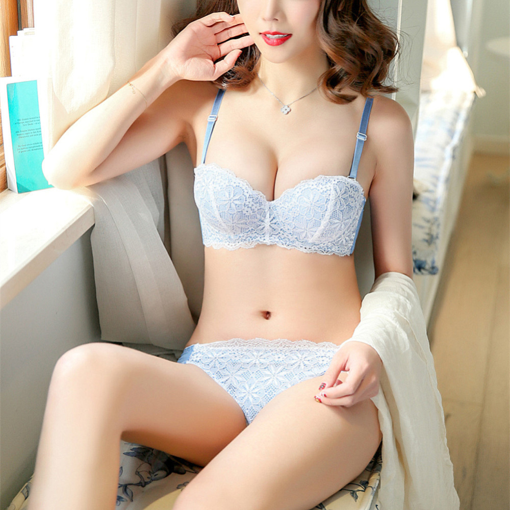 New Arrival 1/2 Cup Blue Black Full Lace Bra Brief set super sexy bride half cup bra set gathering woman underware lingerie H213