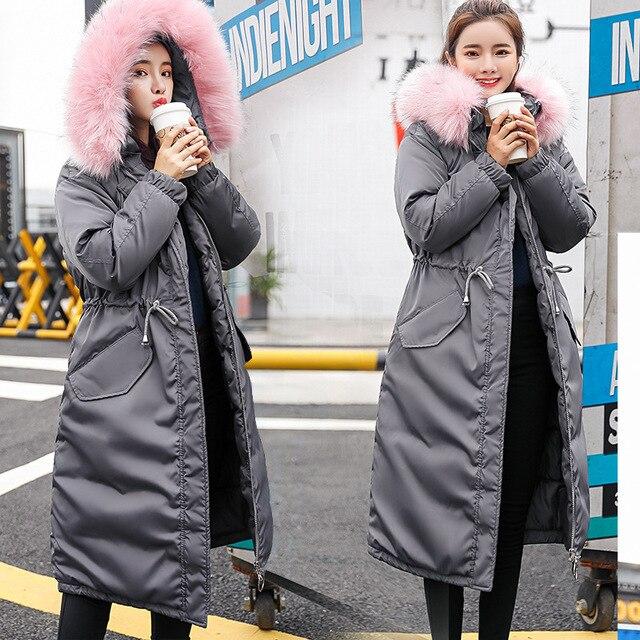 2018 New Winter Coat Women Large Fur Hooded Warm Drawstring Waist Outwear Jacket Women Long Parkas Down Cotton Jacket
