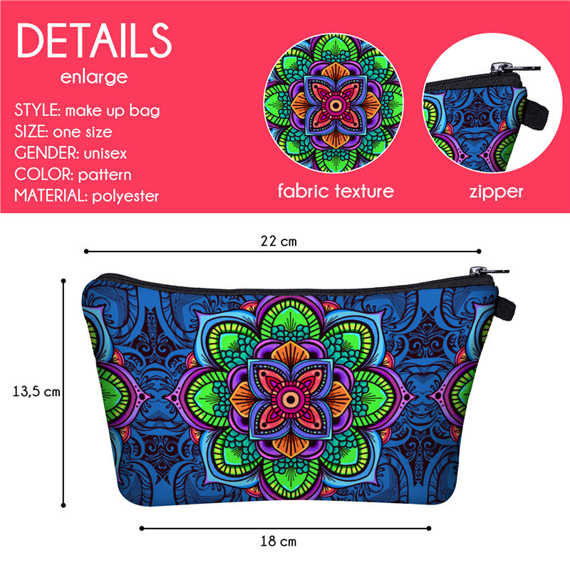 Yotina makeup bag Women Cosmetic Bag With Multicolor Pattern 3D Printing neceser toiletry bag For Travel organizer make up bag