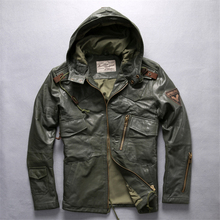 Mens Long Hooded Jacket Genuine Leather Flight Brand Soft Cowskin Vintage European American Coat DHL Free
