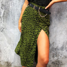 Skirt Women Summer Casual Leopard Printed Straight High Waist Split Street Fashion Female Skirts New H30