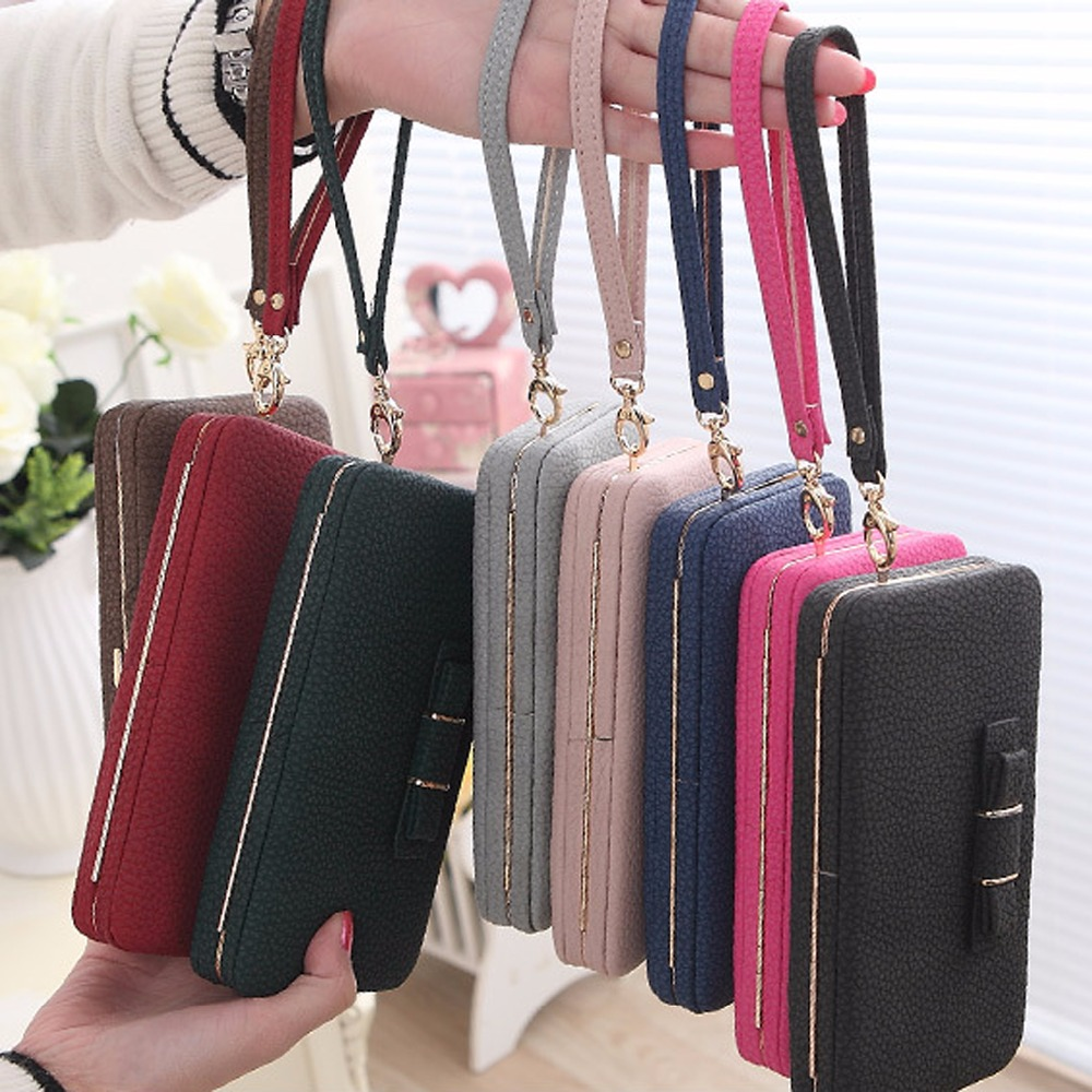 Purse bow wallet female famous brand card holders cellphone pocket PU leather women money bag clutch women wallet 505 5