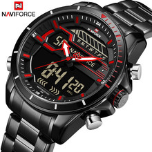 Naviforce Pria Watch Top Brand Luxury Sport QUARTZ LED Dual Display Male Clock Tentara Militer Tahan Air Full Steel Jam Tangan Baru(China)