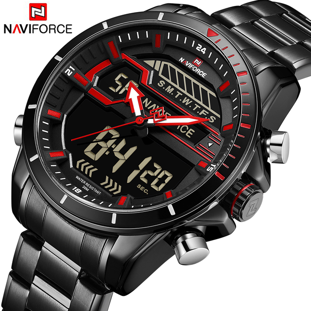 Reloj para hombre NAVIFORCE marca superior de lujo deportivo de cuarzo LED de doble pantalla reloj masculino militar impermeable reloj de pulsera de acero completo nuevo