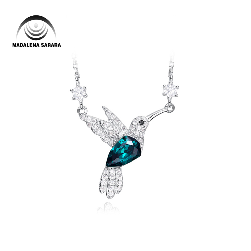 MADALENA SARARA AAA Synthetic Quartz Stone Fashion Dreaming Bird Style Pendant Necklace S925 Chain Necklace