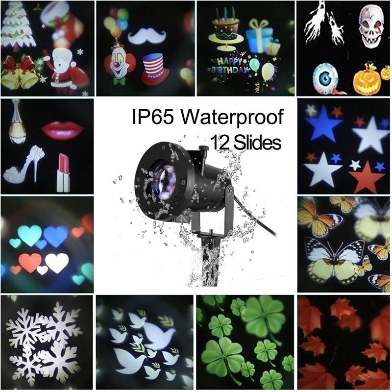 Tanbaby LED Projector Light Waterproof Landscape Snowflake Spotlight with 12 Interchangeable Slides for Christmas Party Garden tanbaby halloween christmas outdoor night snowflakes projector light decorations 12 slides led moving landscape spotlights