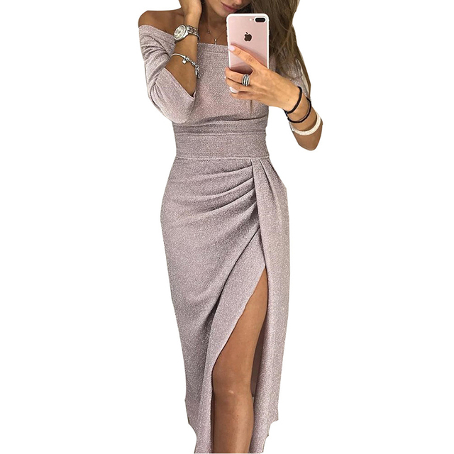 44589d34372 Rogi Sexy Off Shoulder Bodycon Dress Women 2019 Fashion Summer Autumn Club  Party Midi Dresses Ruched Thigh Slit Vestidos Mujer-in Dresses from Women s  ...