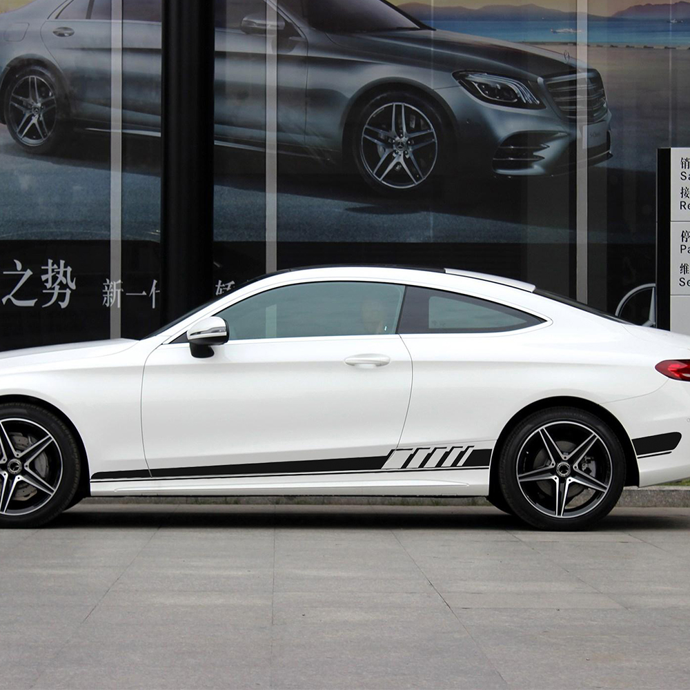 Se adapta a Mercedes C-Class W204 AMG Estilo Side Stripe Calcomanía Gráfico edición 507 C63