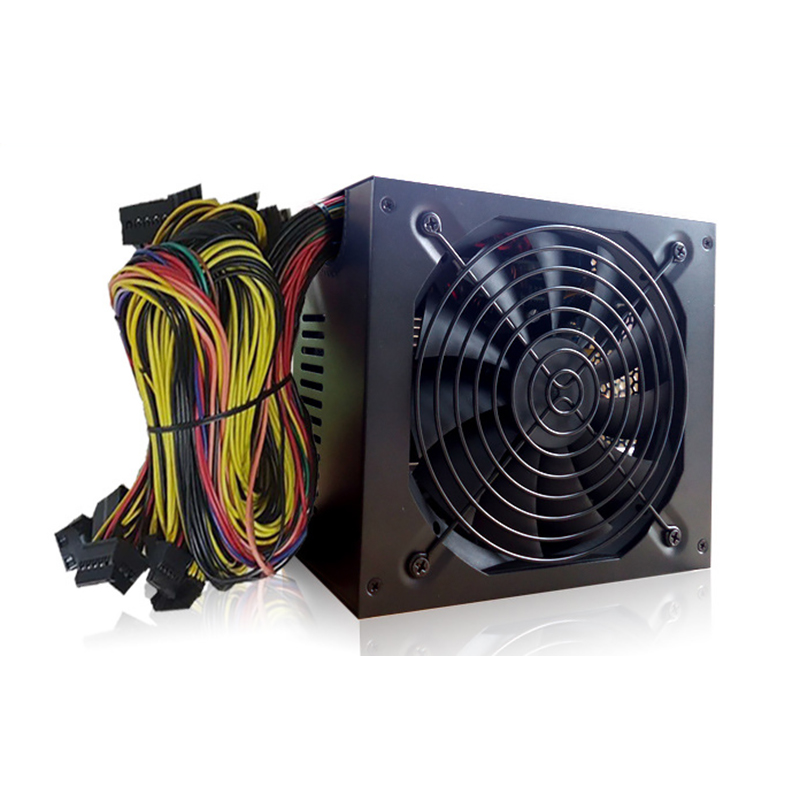 1600W Computer ATX Power Supply Wit Fan Set For Eth Rig Ethereum Coin Miner Suppoerts 6 GPU Mining Power Supply Adapter