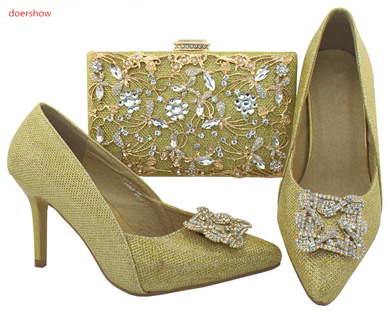 doershow Women Shoes and Bag Set In Italy gold Color Italian Shoes with Matching Bag Set Decorated with Rhinestone WR1-19 цены онлайн