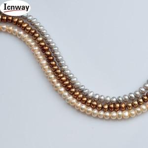 Perla de agua dulce semiredonda de bronce Rosa gris AA Natural 6-7mm para la fabricación de joyas collar DIY de 15 pulgadas envío gratuito al por mayor