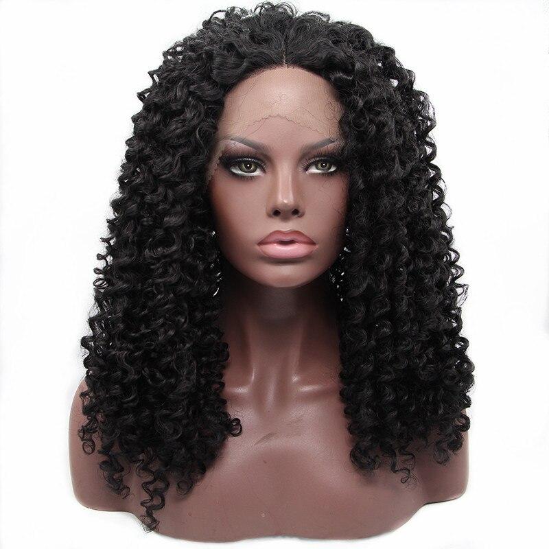 Pervado волос высокого Температура Волокно химическое Кружево Искусственные парики Черный Цвет испанский волна 16 дюймов Glueless Синтетический ... ...