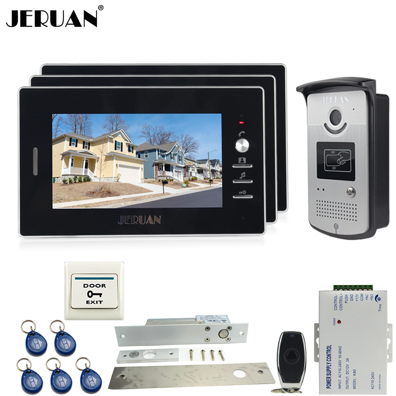 JERUAN Wired 7`` TFT video door phone Entry intercom system kit 700TVL RFID Access IR Night Vision Camera 1V3