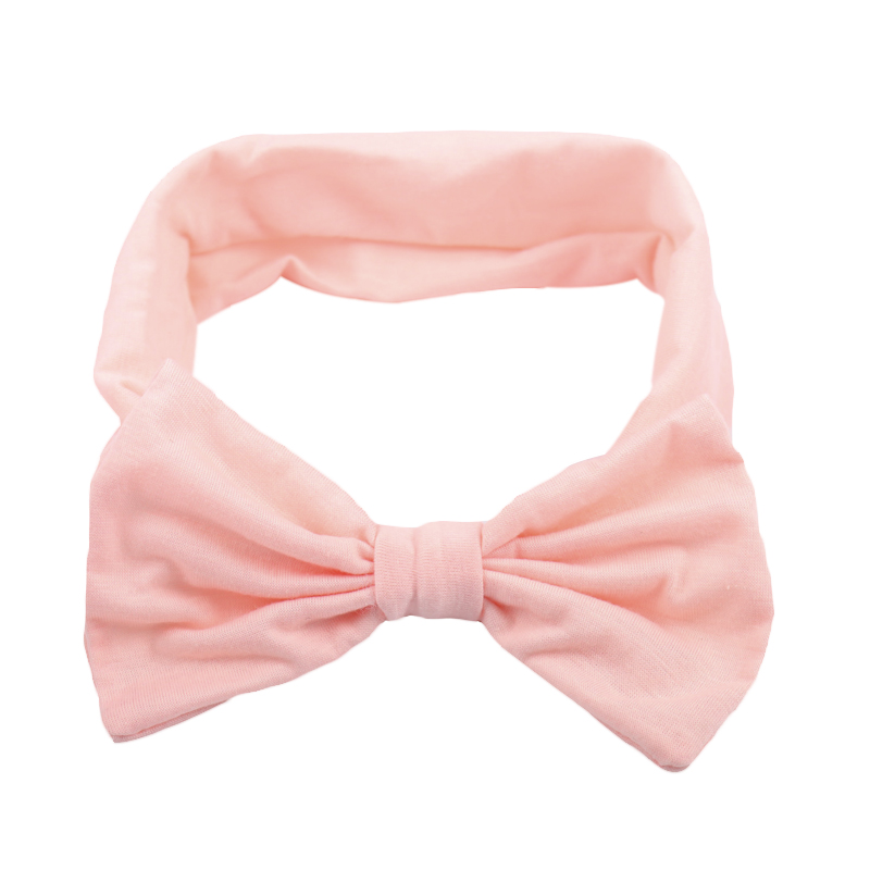 Solid Turban Cotton Headband For Kids Girl Handmade Stretch Bow Hairband Hair Accessories Headwrap 1 pc women fashion elastic stretch plain rabbit bow style hair band headband turban hairband hair accessories