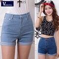 2016 Nuevas mujeres jeans Denim Elástico de Cintura Alta de Verano Shorts Coreano Delgado Ocasional de las mujeres Jeans Shorts Hot Sale Plus tamaño