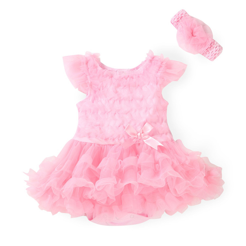 Newborn Baby Clothing Baby Gril Clothes Bow tutu Princess Dress Rompers+Headband 2 Pcs/Set Kids Gifts