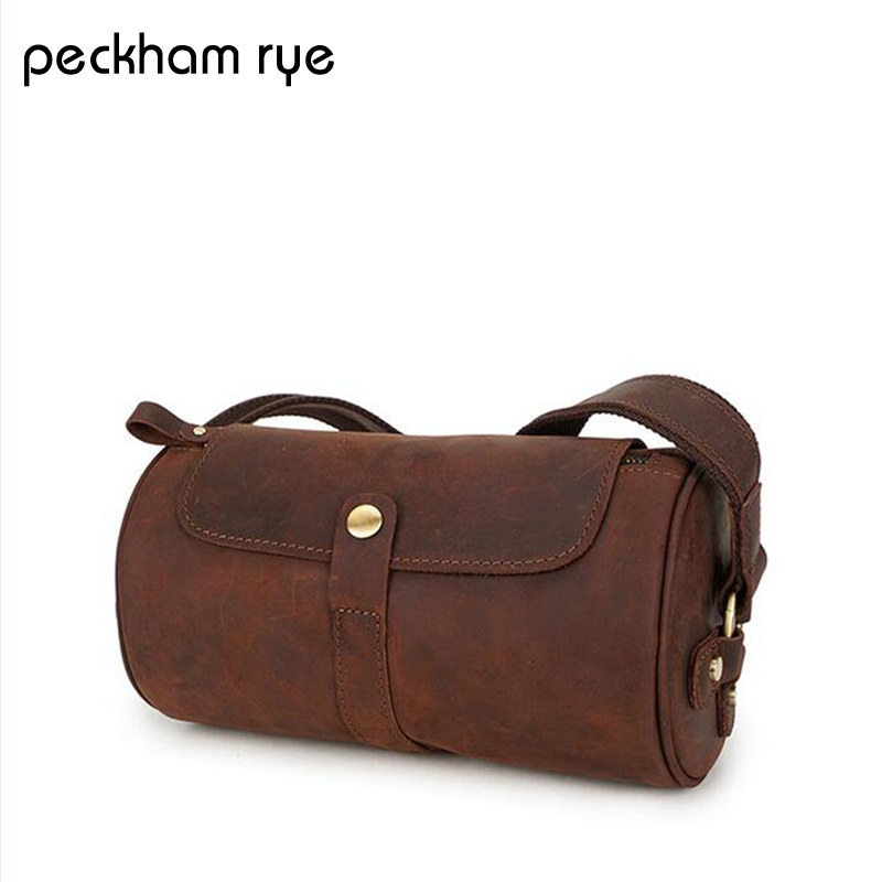 Cylindrical type Genuine Leather Bag top-handle Men Bags Shoulder Crossbody Bags Messenger Small Flap Handbags Male Leather Bag cowhide messenger small flap casual handbags men leather bag genuine leather bag top handle men bags male shoulder crossbody ba
