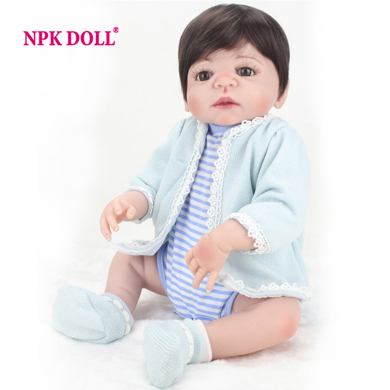 NPKDOLL 22 Inch Doll Full Silicone Reborn Babies Dolls For Girls Hair Wig Realistic Soft Vinyl Alive Baby Dolls For Playmate sleeping realistic baby doll reborn 20 inch newborn full silicone vinyl alive babies dolls with leopard dress kids playmate page 5