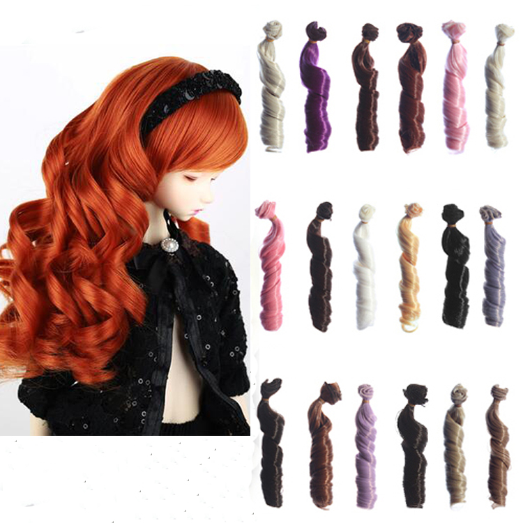 15cm brown Blond coffee black brown color High temperature big roma curly doll hair for  ...