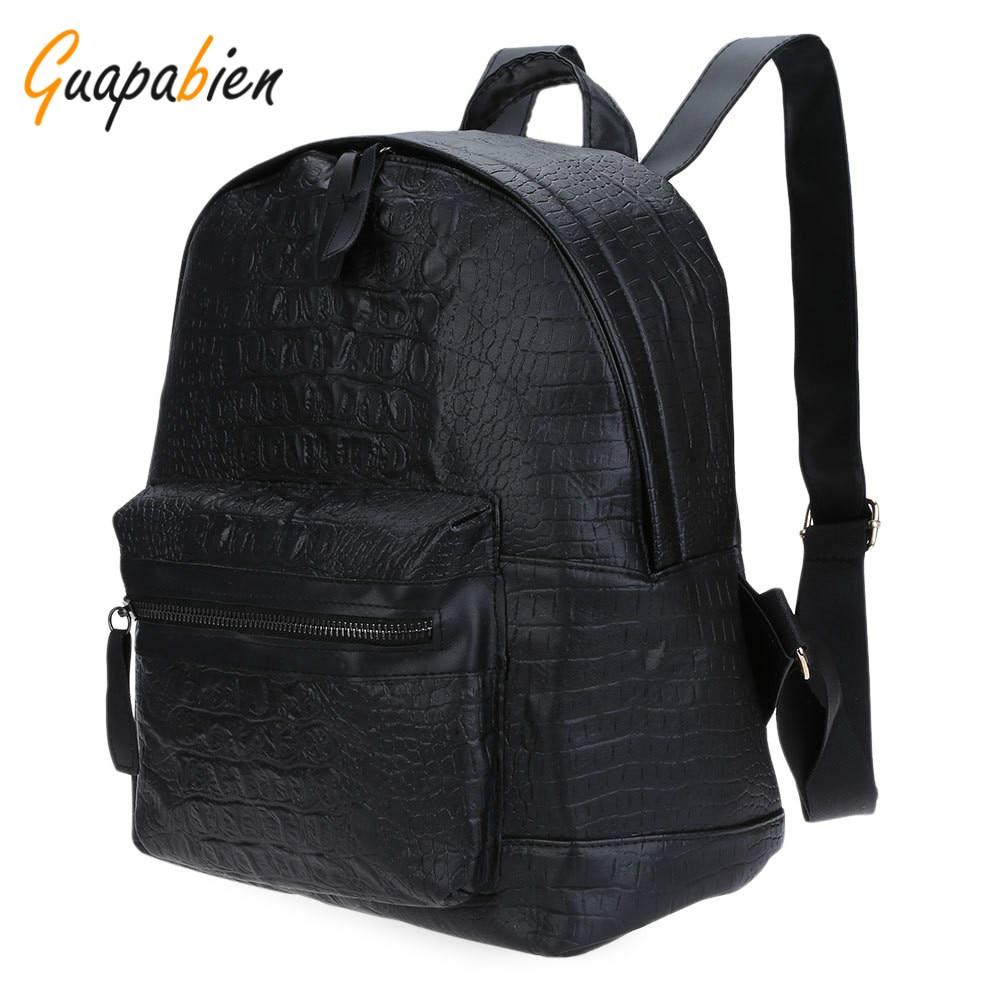 Guapabien 2016 Women Leather Alligator Crocodile School Bags Girls Teenagers  College Travel Bagpack Rucksack Mochila Backpack 5da307055f