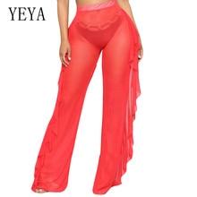 YEYA Sexy Perspective Mesh Playsuits Elegant Women Summer Ruffled See Through Trousers Femme Vestidos De Festa Curto Jumpsuits