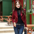 Primavera otoño 2017 nueva versión Coreana de las mujeres delgado Dulce de Solapa color Sólido informal de manga larga chaqueta de cremallera barato al por mayor
