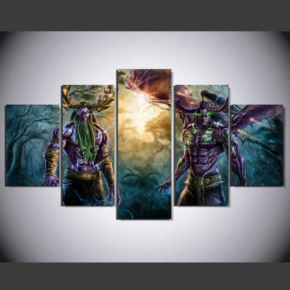Wall Art Modular Posters Home Decor Living Room 5 Panel Game Character Framework HD Printed Modern Canvas Pictures Painting
