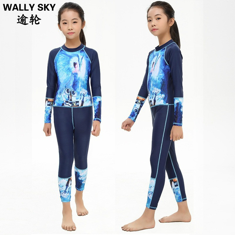 Youth Kids Grils Rash Guard Swimming Suit Full Body Bathing Suit Lycra Swimwear UV Protection One-piece Girls Swimsuit Swimwear
