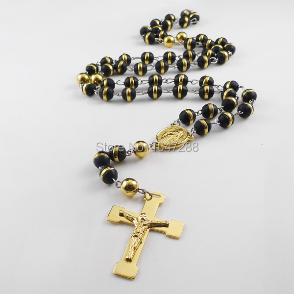 Mopera Jewellery Store Men's Rosary Necklaces Pendants Jewelry Multicolor Charms Stainless Steel Jesus Cross Necklace For Women
