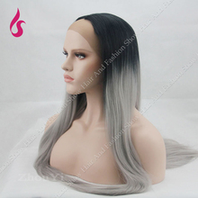 Omber Grey and Black mixed Synthetic Lace Front Wig Two Tone Ombre Synthetic Wigs Cosplay  Style Wig