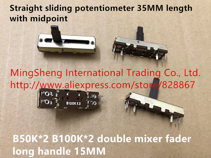 Original New 100% Straight Sliding Potentiometer 35MM Length With Midpoint B50K*2 B100K*2 Double Mixer Fader Long Handle 15MM
