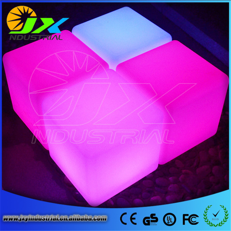 free shipping 40cm LED cube chair for outdoor party/Led Glow Cube Stools Led Luminous Light Bar Stool Color Changeable купить