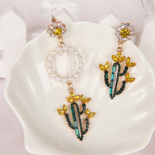 Cactus Design Stud Earrings Unique Asymmetric Water Drill Elegant Women Fashion Jewelry Accessories