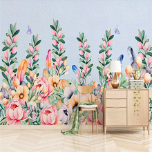 Decorative wallpaper American hand-painted rose flower rattan feather background wall painting