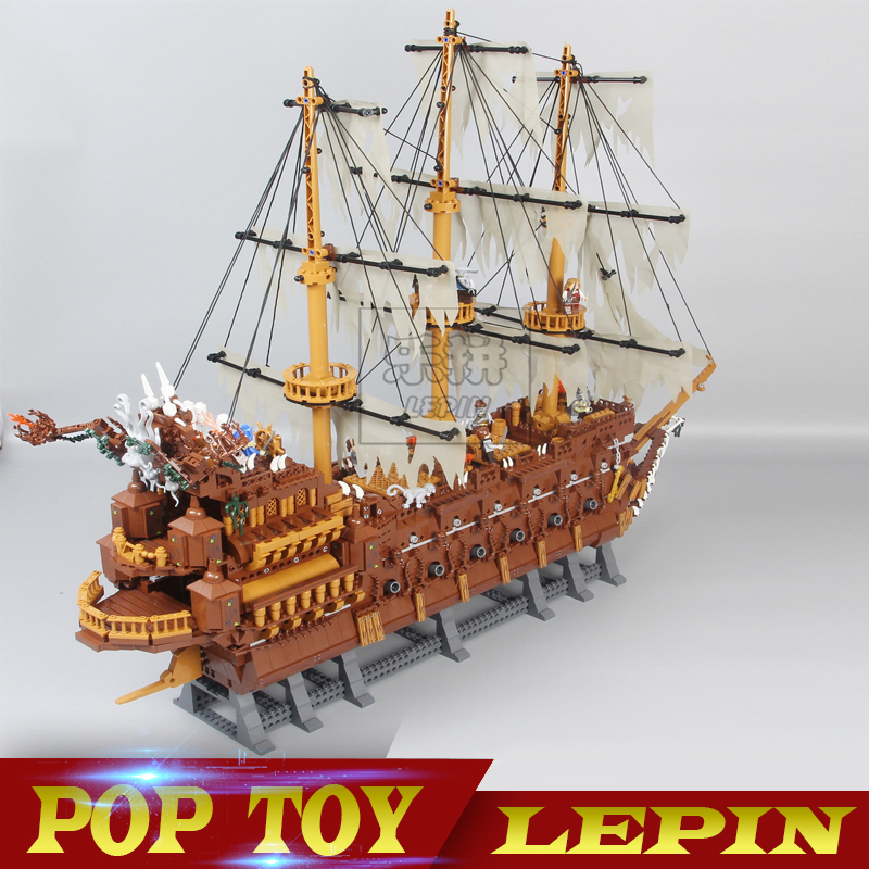 Lepin 16016 3652Pcs Movie Series Flying the Dutchman Blocks Bricks Toys For Children Compatible Pirates of the Caribbean 71042 lepin 16042 pirates of the caribbean ship series the slient mary set children building blocks bricks toys model gift 71042