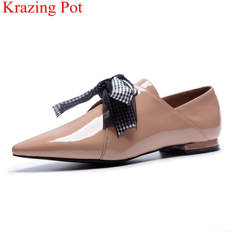 купить 2018 superstar lace up low heel pointed toe genuine leather women pumps elegant office lady sweet riband runway party shoes L02 по цене 3594.83 рублей