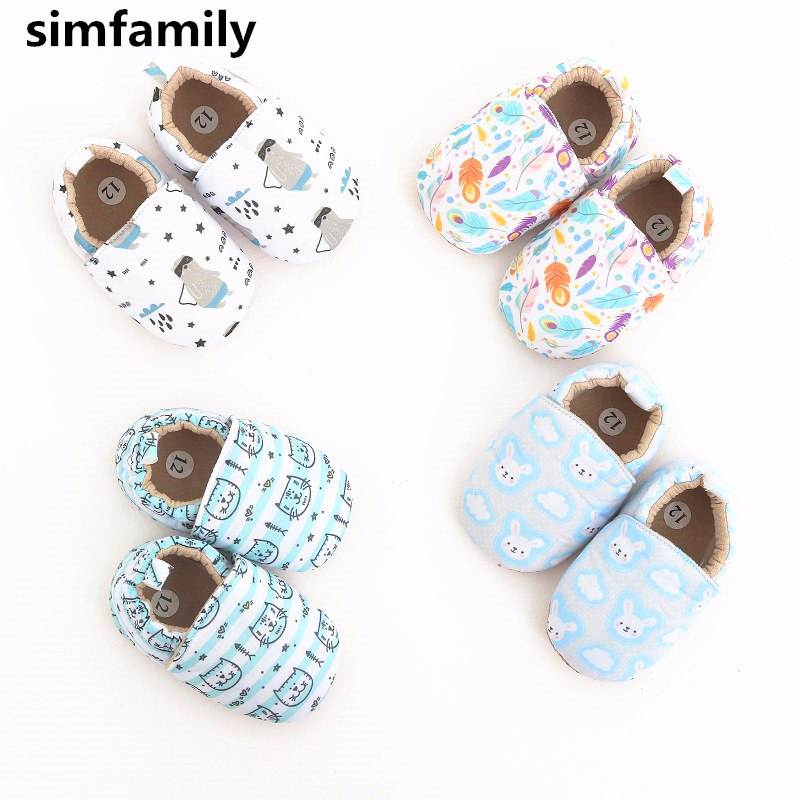 [simfamily]Baby Shoes Boys Girls Shoes Newborn Soft  Infant First Walkers Shoes Cute Cartoon Printed Shoes
