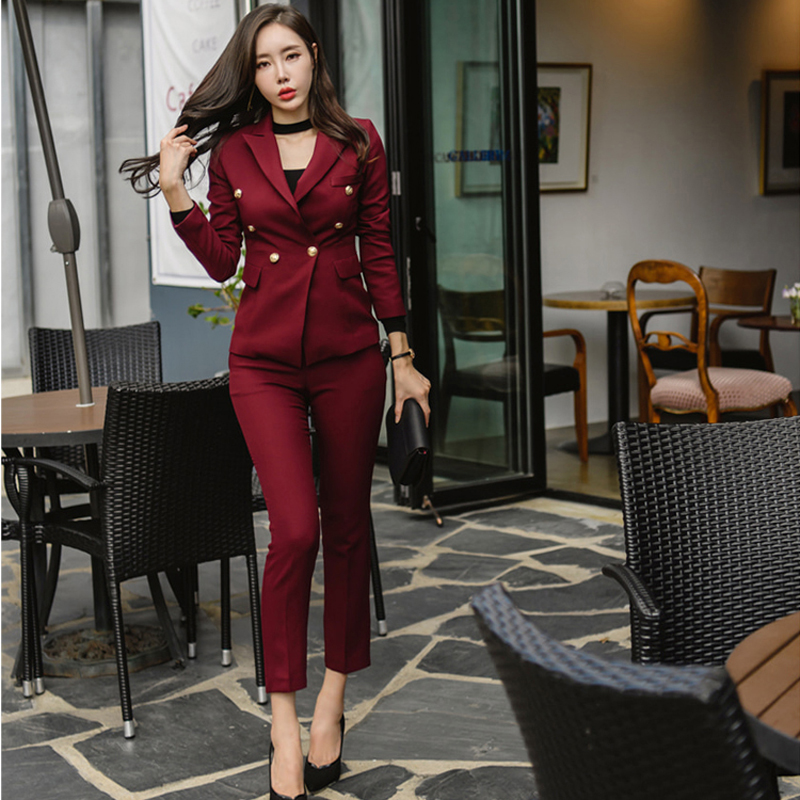 Sexy Wine Red Slim Style Women Pant Suits Slim Waist Buttons Blazer Jacket Pencil Pant OL