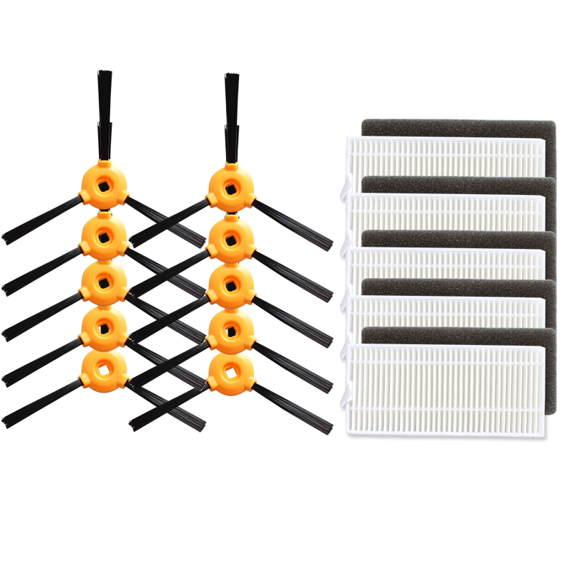 20 pcs/lot 10 pcs Side Brush +5 pcs HEPA Filter +5pcs Sponge for Eufy RoboVac 11, Eufy RoboVac 11c Robotic Vacuum Cleaner Parts 1 piece robot primary filter net accessories for eufy robovac 11 robotic vacuum cleaner parts