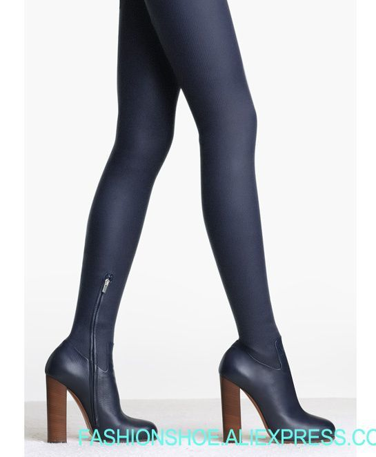 2018 Hot Stretch Leather Women Round Toe Over The Knee Boots Super High Heel Knight Boots Ladies Sexy Thigh Boots Blue Leather
