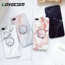 LOVECOM Case For iPhone XS XS Max X 8 7 6 6S Plus For Huawei P20 For Samsung S9 Marble Stand Holder Soft IMD Phone Back Cover
