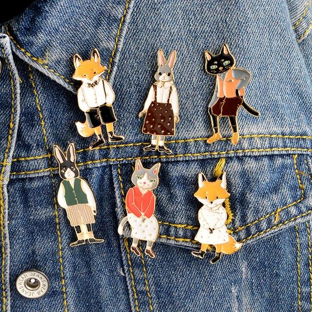 6pcs/set Mr Ms Gentleman Lady Cat rabbit fox Brooch pin Denim Animal Jacket Pin