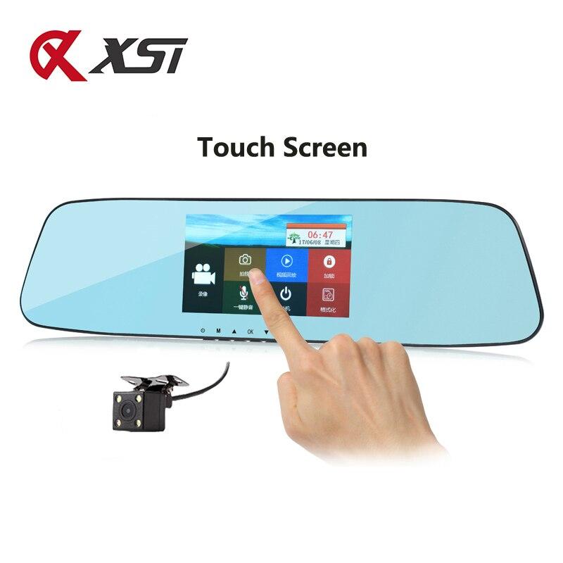 XST Full HD 1080P 4 3 inch Dash Cam DVR Dash Camera Mirror Touch Screen Dual
