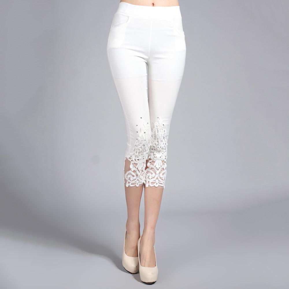 Plus Size 4XL Women Summer Lace Pants Crochet Rhinestone Skinny Stretch Cropped Leggings Trousers Capris Pants 5188