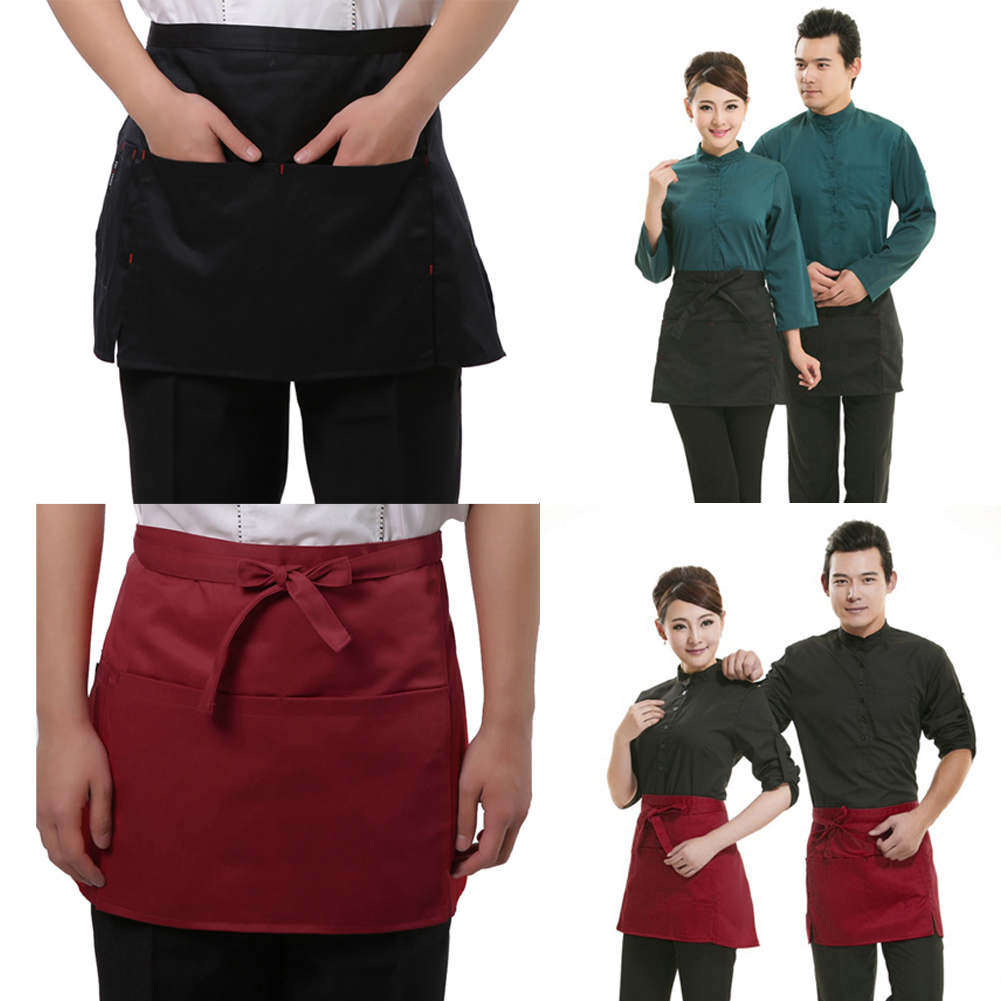 10 Style Universal Restaurant Apron Unisex Half Bust Bib Restaurant Coffee Tea Shop Waitress Uniforms Waist Short Apron Pockets Home & Garden