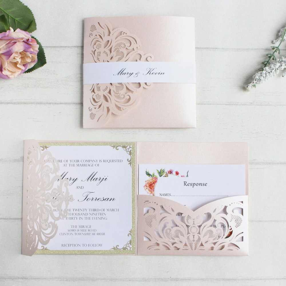 Soft Pink Wedding Invitations Card
