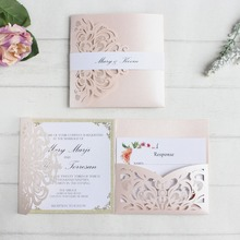 Soft pink wedding invitations card laser pocket bridal marriage invite customized printing insert belly band RSVP
